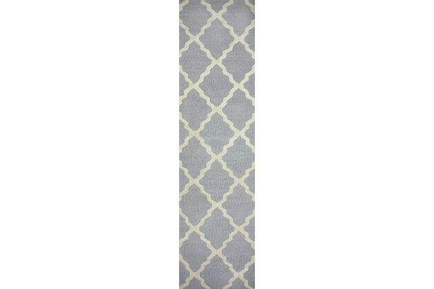 nuLOOM Hand Hooked Marrakech Trellis 6' x 6' Rug, Light Gray, large