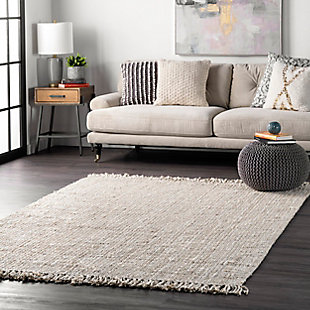 nuLOOM Hand Woven Chunky Loop Jute 6' x 6' Rug, Off White, rollover