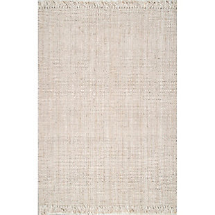 nuLOOM Hand Woven Chunky Loop Jute 6' x 6' Rug, Off White, large