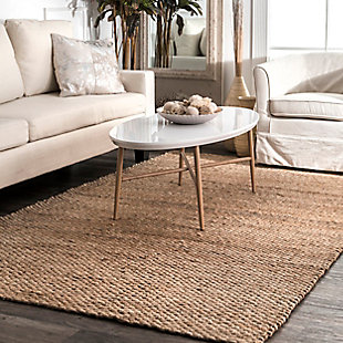 nuLOOM Hand Woven Hailey Jute 6' x 6' Rug, Natural, rollover