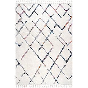 """nuLOOM Kirra High-Low Abstract Tassel 5' 3"""" x 7' 6"""" Rug, Beige, large"""