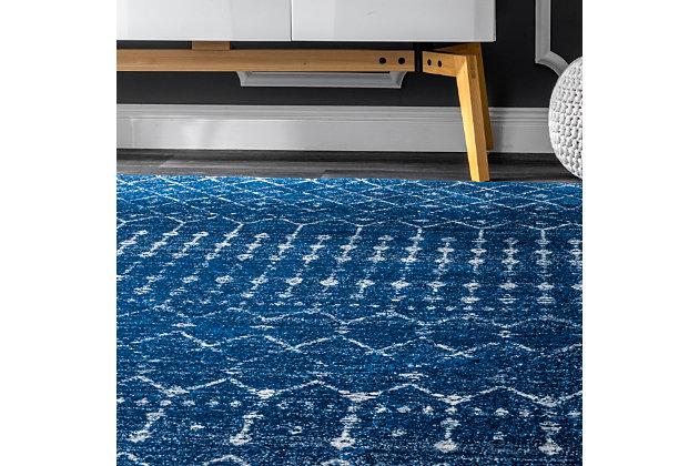 nuLOOM Moroccan Blythe 6' x 6' Rug, Blue, large
