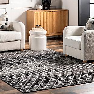 nuLOOM Moroccan Blythe 4' x 4' Rug, Black, large