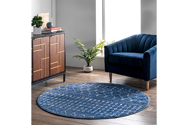 nuLOOM Moroccan Blythe 6' x 6' Rug, Dark Blue, large