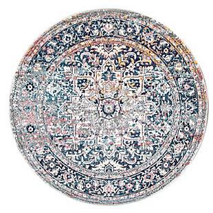 nuLOOM Persian Vintage Raylene 6' x 6' Rug, Blue, large