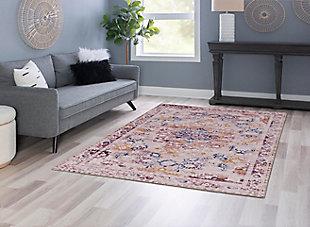 Linon Washable Layton 5' x 7' Area Rug, Pink, rollover