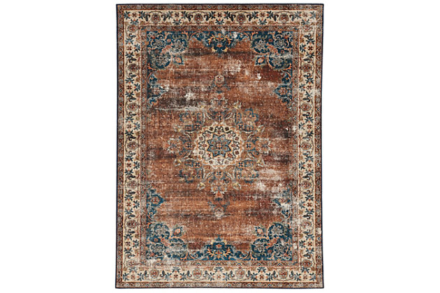 Linon Washable Marnie 5' x 7' Area Rug, Russet, large