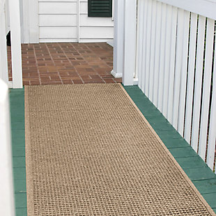 Bungalow Flooring Aqua Shield Squares 3' x 7' Indoor/Outdoor Mat, Camel, rollover