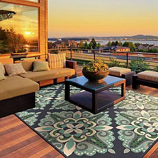 "Cascadia Home  Malibu Floral Pops Outdoor 5'3"" x 7'6"" Area Rug, Blue, rollover"
