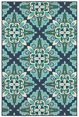 "Cascadia Home  Malibu Floral Pops Outdoor 5'3"" x 7'6"" Area Rug, Blue, large"