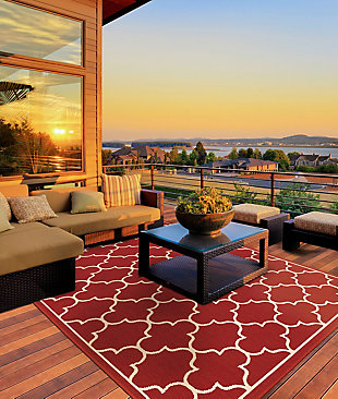 "Cascadia Home  Malibu Geo Lattice Red Outdoor 5'3"" x 7'6"" Area Rug, Red, rollover"