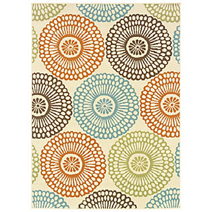 """Cascadia Home  Melbourne Spirograph Outdoor 5'3"""" x 7'6"""" Area Rug, Beige, large"""