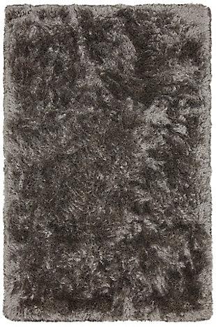 "Chandra Giulia Handwoven Shag 5' x 7'6"" Area Rug, Silver, rollover"