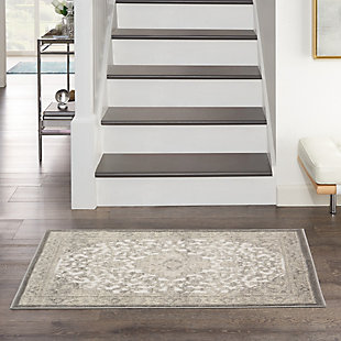 """Nourison Cyrus 2'6"""" X 4' Center Medallion Accent Rug, Ivory/Gray, rollover"""