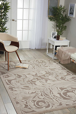 """Nourison Graphic Illusions 3'6"""" X 5'6"""" Camel Botanical Accent Rug, Gray/Camel, rollover"""