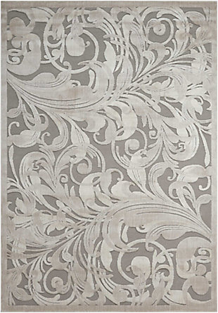 """Nourison Graphic Illusions 3'6"""" X 5'6"""" Camel Botanical Accent Rug, Gray/Camel, large"""