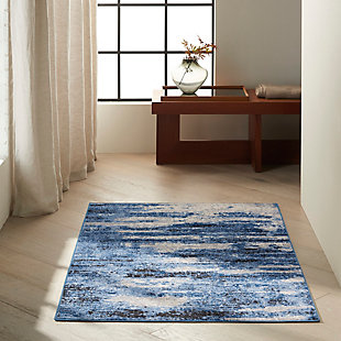 """Nourison River Flow 3'2"""" X 5'  Abstract Accent Rug, Blue/Gray, rollover"""