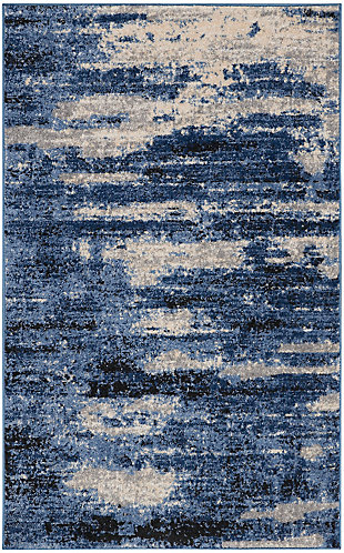 """Nourison River Flow 3'2"""" X 5'  Abstract Accent Rug, Blue/Gray, large"""