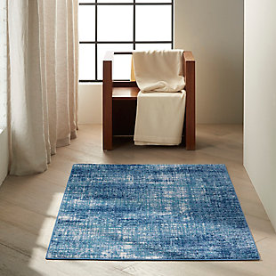 """Nourison River Flow 3'2"""" x 5' Accent Rug, Teal/Ivory Blue, rollover"""