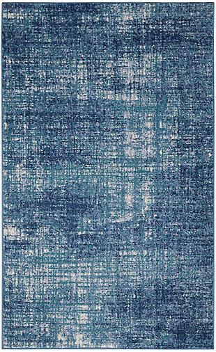 "Nourison River Flow 3'2"" x 5' Accent Rug, Teal/Ivory Blue, large"