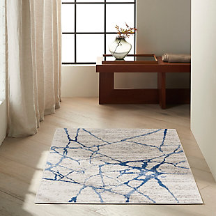 """Nourison River Flow 3'2"""" X 5' Abstract Accent Rug, Ivory Blue, rollover"""