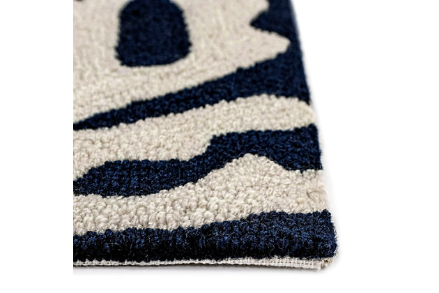 Transocean Fortina Beach Border Outdoor 5' Round Accent Rug, Navy, large