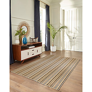 """Transocean Mateo Ribbon Stripe Outdoor 4'10"""" x 7'6"""" Area Rug, Sand, rollover"""