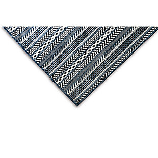 """Transocean Mateo Ribbon Stripe Outdoor 7'10"""" x 7'10"""" Square Area Rug, Navy, large"""
