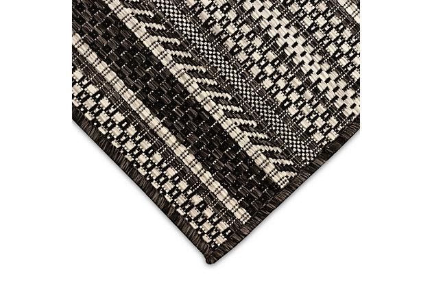 "Transocean Mateo Ribbon Stripe Outdoor 6'6"" x 9'3"" Area Rug, Black, large"