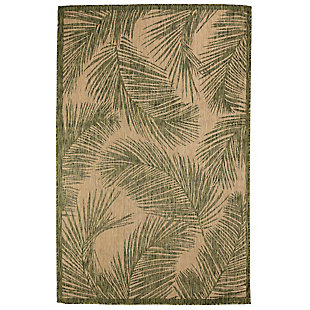 """Transocean Mateo Tropical Leaf Outdoor 4'10"""" x 7'6"""" Area Rug, Green, rollover"""