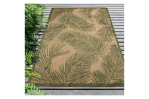 """Transocean Mateo Tropical Leaf Outdoor 4'10"""" x 7'6"""" Area Rug, Green, large"""