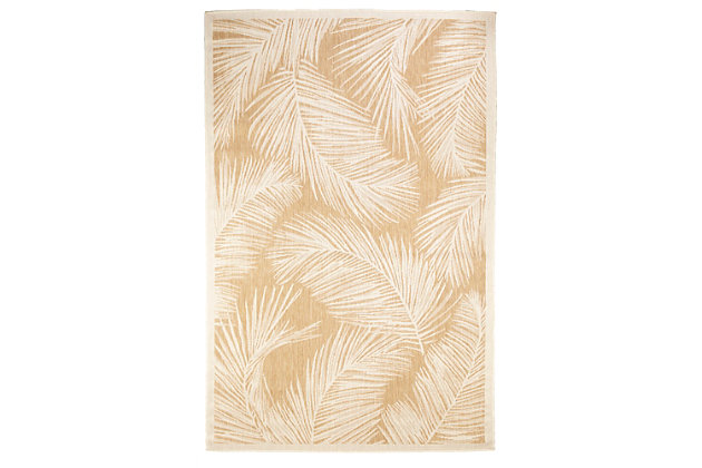 """Transocean Mateo Tropical Leaf Outdoor 7'10"""" x 9'10"""" Area Rug, Sand, large"""