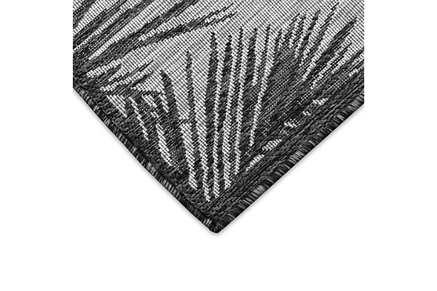 """Transocean Mateo Tropical Leaf Outdoor 6'6"""" x 9'3"""" Area Rug, Black, large"""