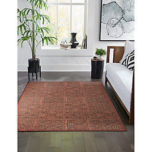 """Transocean Mateo Tribal Collage Outdoor 4'10"""" x 7'6"""" Area Rug, Red, rollover"""
