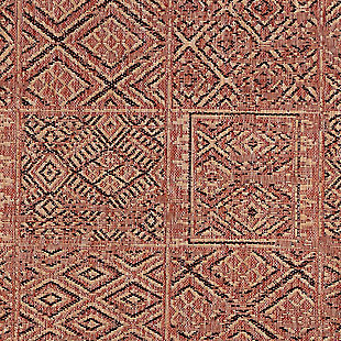 """Transocean Mateo Tribal Collage Outdoor 4'10"""" x 7'6"""" Area Rug, Red, large"""