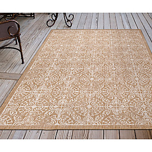 """Transocean Mateo Embellished Tile Outdoor 4'10"""" x 7'6"""" Area Rug, Sand, rollover"""