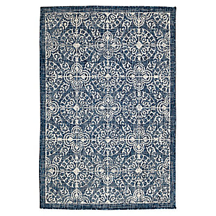 """Transocean Mateo Embellished Tile Outdoor 3'3"""" x 4'11"""" Accent Rug, Navy, large"""