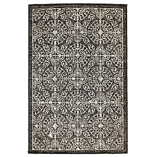 """Transocean Mateo Embellished Tile Outdoor 3'3"""" x 4'11"""" Accent Rug, Black, large"""