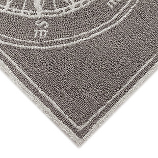Transocean Deckside Navigation Outdoor 8' Round Area Rug, Gray, large
