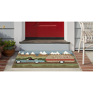 Transocean Deckside Canine Vacay Outdoor 2' x 3' Accent Rug, Green, rollover