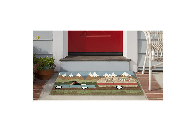 Transocean Deckside Canine Vacay Outdoor 2' x 3' Accent Rug, Green, large