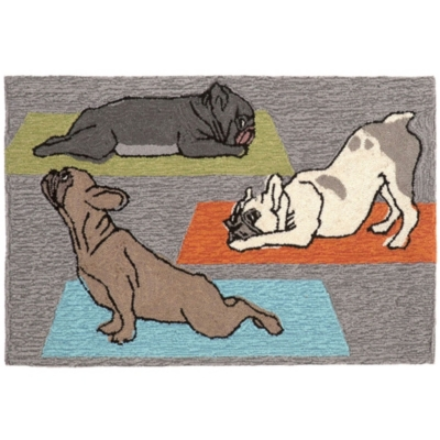 Transocean Deckside Namaste Pups Outdoor 2' x 3' Accent Rug, Gray, large