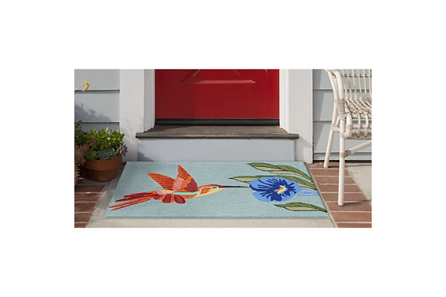 Transocean Deckside Beauty in Flight Outdoor 2' x 3' Accent Rug, Blue, large