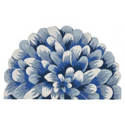 Transocean Deckside Grand Poms Outdoor 2' x 3' Accent Rug, Blue, large