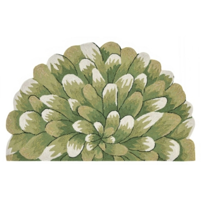 Transocean Deckside Grand Poms Outdoor 2' x 3' Accent Rug, Green, large