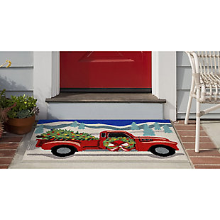 Transocean Deckside Holiday Run Outdoor 2' x 3' Accent Rug, Gray, large