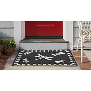 Transocean Deckside Spring Dragons Outdoor 2' x 3' Accent Rug, Black, large