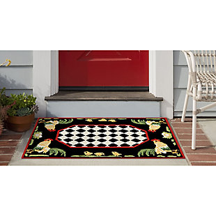 Transocean Deckside Capon Outdoor 2' x 3' Accent Rug, Black, large