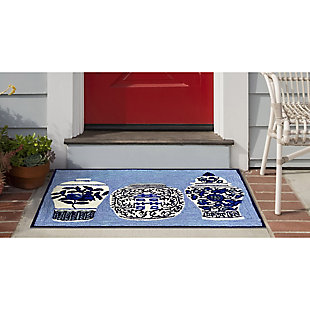 Transocean Deckside Ming Jar Outdoor 2' x 3' Accent Rug, Blue, large