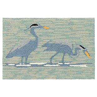 Transocean Deckside Coastal Bird Outdoor 2' x 3' Accent Rug, Blue, large